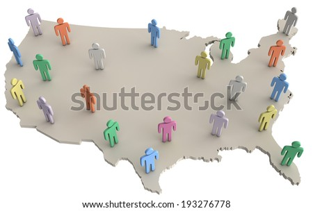 Group of people on map of United States as population voters consumers social data - stock photo