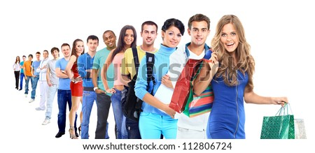 Group of people on white - stock photo
