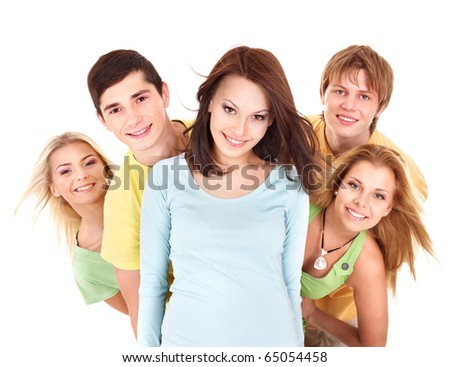 Group of people on white.Teenager girl and teenager boy. - stock photo