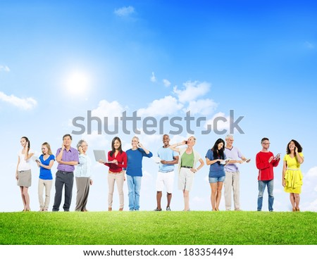 Group Of People Outdoors Social Networking