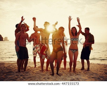 Group of people party on the beach Concept