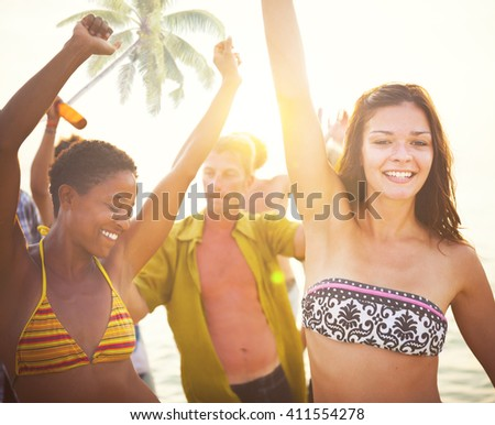 Group of People Partying on a Tropical Beach - stock photo