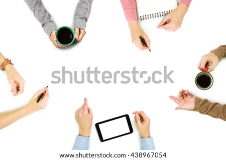 Group of People Planning, Discussing or Meeting with copy space on white background  - stock photo