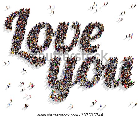 """Group of people seen from above shaping the text """"Love you"""", on a white background - stock photo"""