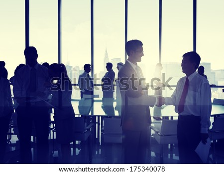 Group of People Shaking Hands at New York Skyline - stock photo