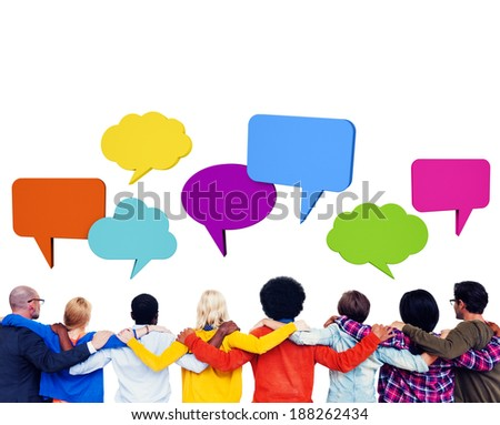 Group of people sharing ideas with speech bubbles.