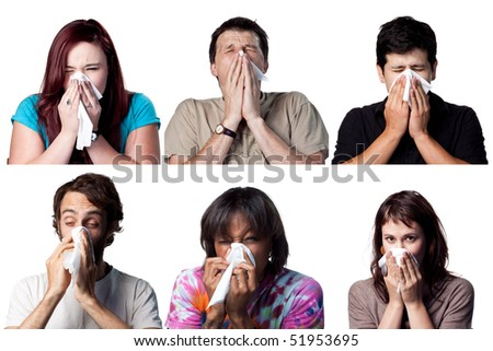 Group of people sneezing using a tissue paper