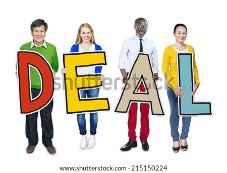Group of People Standing Holding Deal Letter - stock photo