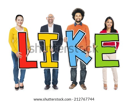 Group of People Standing Holding Like - stock photo