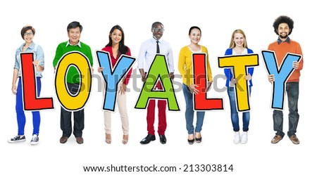Group of People Standing Holding Loyalty - stock photo