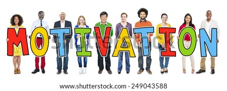 Group of People Standing Holding Motivation Letter - stock photo