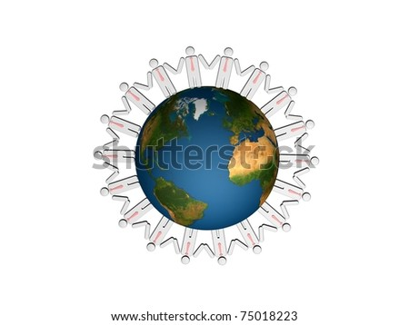 Group of people standing round globe