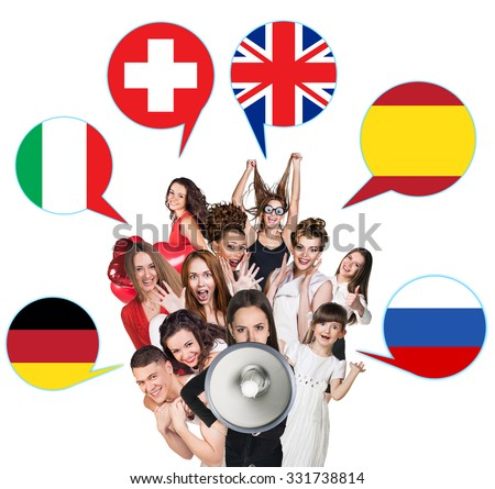 Group of people surrounded by dialogue bubbles with countries flags. Germany,  Britain, Russia, Czech, Spain, Switzerland. Learning of foreign languages concept.  - stock photo