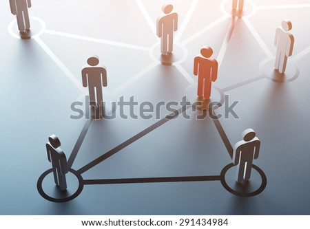 group of people talking in social network - stock photo