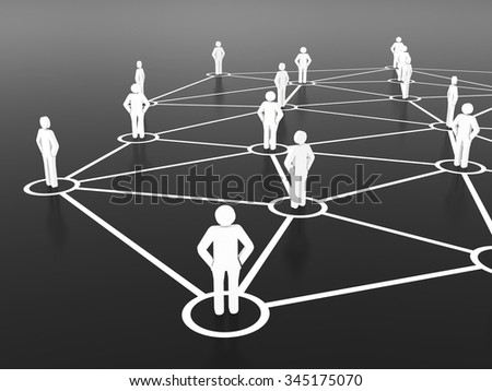 Group of people talking on global social networks.