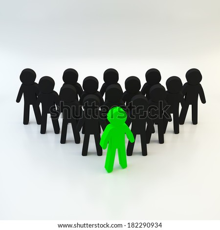 Group of people team business and leader on white background, 3d people concept