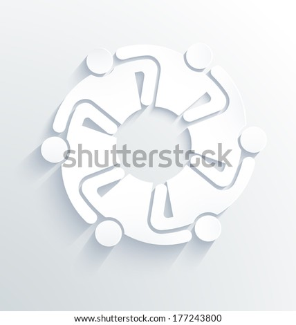 Group of People Team 6 hugging each other. 3D White Label  - stock photo