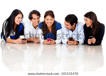 Group of people texting - isolated over a white background - stock photo