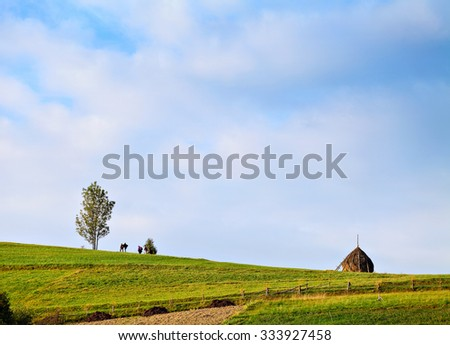 group of people walking on the green hill between a tree and haystack, blue sky on background