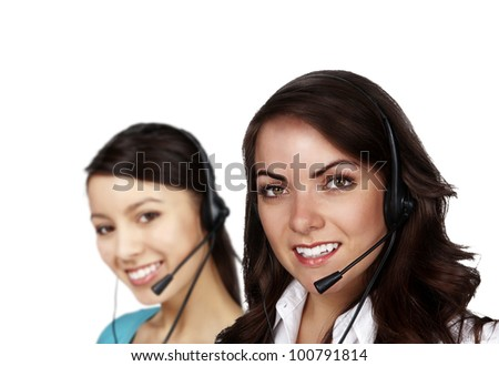 group of people wearing telephone headset ready to take your call - stock photo