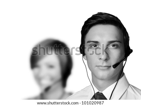 group of people wearing telephone headset ready to take your call