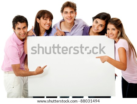 Group of people with a banner ad - isolated on white