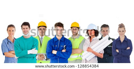 Group of people with different jobs standing in line on white background