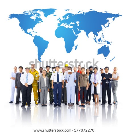 Group of People with Different Occupations - stock photo