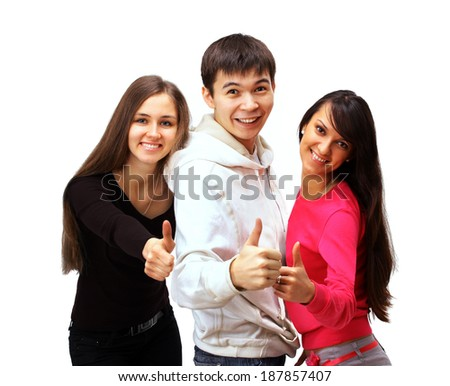 group of people with thumbs up isolated