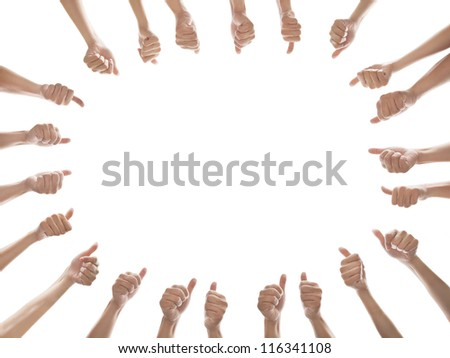group of people with thumbs up isolated on white - stock photo
