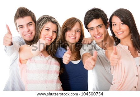 Group of people with thumbs up - isolated over a white background - stock photo