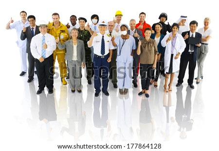 Group of People with Variety Occupation - stock photo