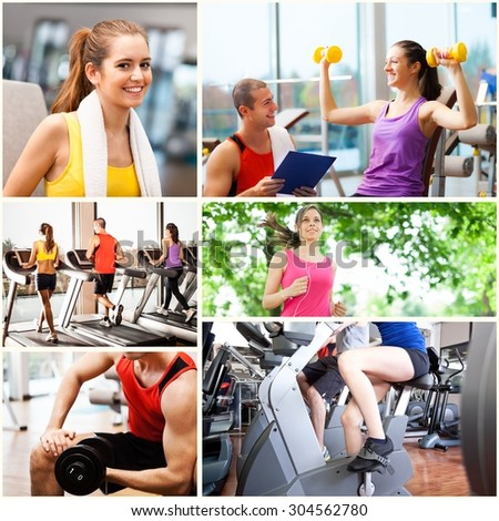 Group of people working out and having fun - stock photo