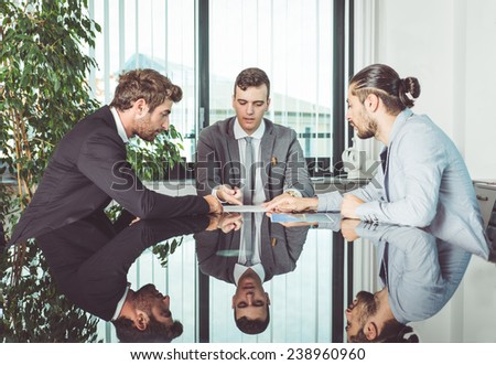 group of people working together in a office. concept about business and finance