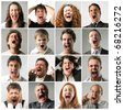 group of people yelling - stock photo