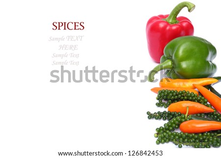 Group of pepper isolated on white background with sample text