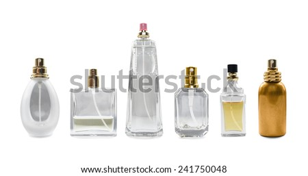 Group of perfume bottles isolated over white
