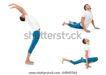 Group of photos of handsome active man doing yoga fitness poses. isolated on white background