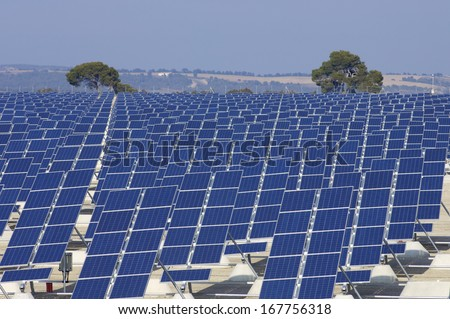 group of photovoltaic panels for renewable electric energy production - stock photo
