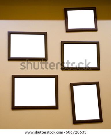 Group Picture Frames On Wall Stock Photo (Royalty Free) 606728633 ...