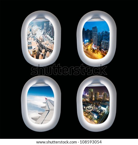 Group of plane windows with different views - stock photo