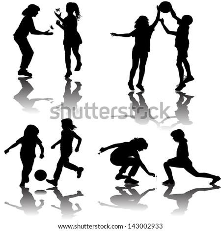 Group of playing children silhouettes