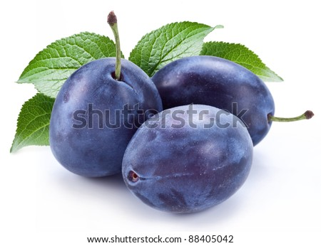 Group of plums with leaf isolated on a white background. - stock photo