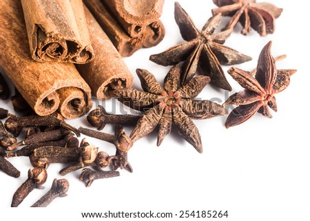 Group of popular spices consisting Cinnamon sticks, Cloves and Star Anise on white background - stock photo