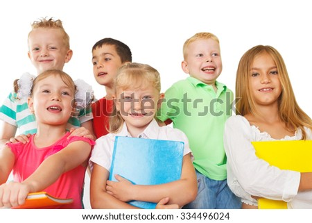 Group of preschoolers with books  - stock photo