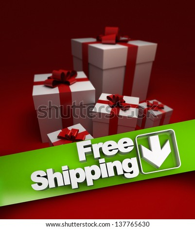 Group of presents with a banner stating free shipping - stock photo