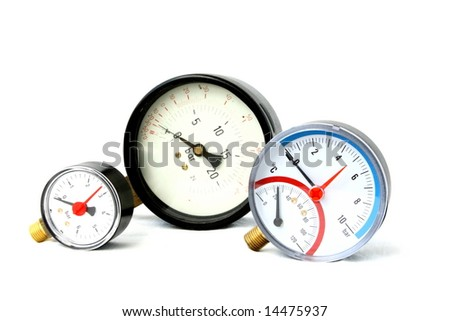 group of pressure meters isolated on white