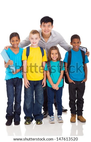 group of primary school kids and teacher isolated on white - stock photo