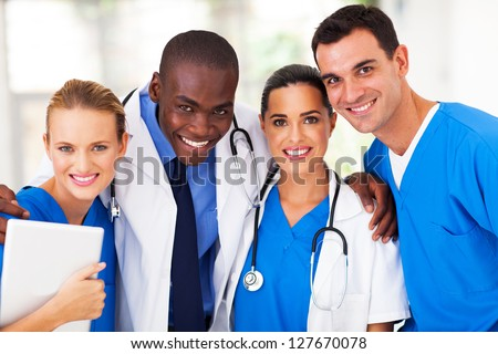group of professional medical team closeup - stock photo