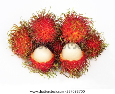 group of rambutan on white background